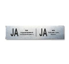 Ja-Ja brievenbusplaatje van RVS-look, 150x35 mm