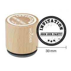 """Uitnodiging stempel Houten handstempel """"Woodies"""" 