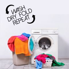 Wasruimte muursticker Wash dry fold repeat