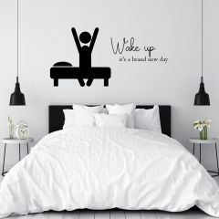 Slaapkamer muursticker Wake Up
