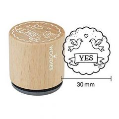 "Houten handstempel ""Woodies"" Yes"